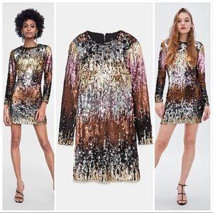 🆕 Zara Ombré Sequin Long Sleeve Mini Dress - S